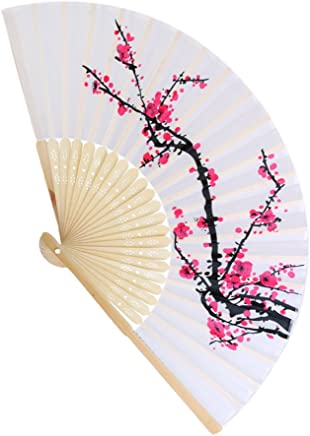 Elegant Embroidered Flower Peacock Pattern Sequin Fabric Folding Handheld Hand Fan for Women Wedding Dancing Party Decoration by TheBigThumb