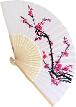 Elegant Embroidered Flower Peacock Pattern Sequin Fabric Folding Handheld Hand Fan for Women Wedding Dancing Party Decoration by TheBigThumb (Plum Blossom)