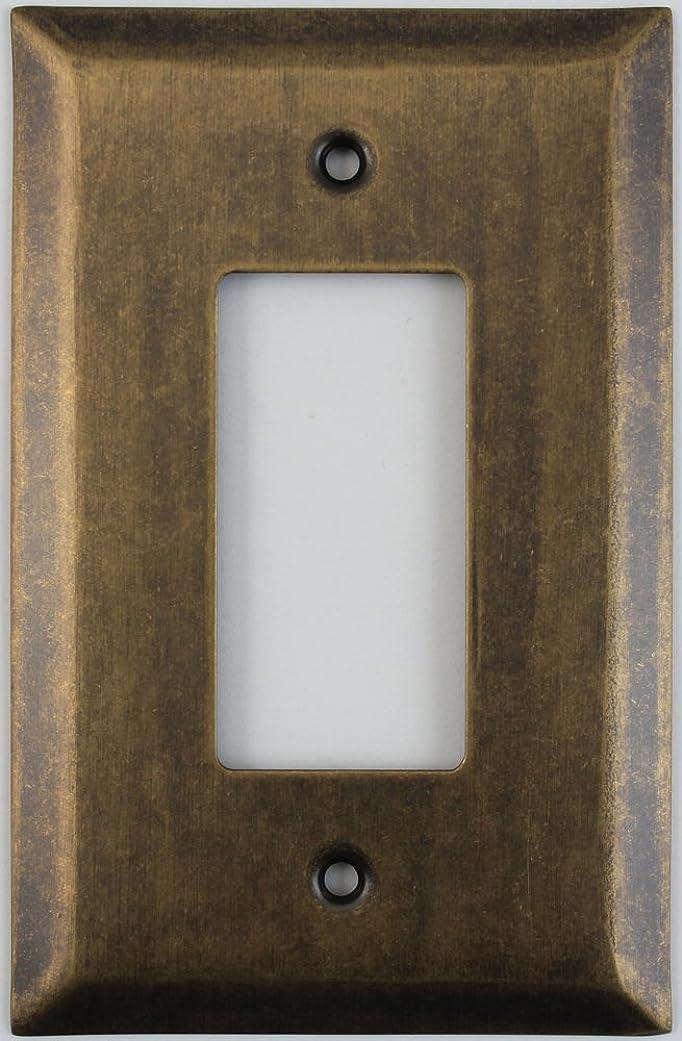 突進旋律的尾ジャンボStamped Agedアンティーク真鍮One Gang GFI /ロッカースイッチ壁プレート