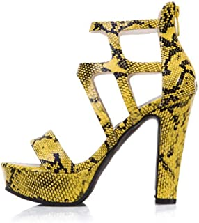 High-heeled Open-toe Sandals, Thick Bottom Snake-print High-heeled Shoes, Large Size Women's Shoes with a Back Zipper