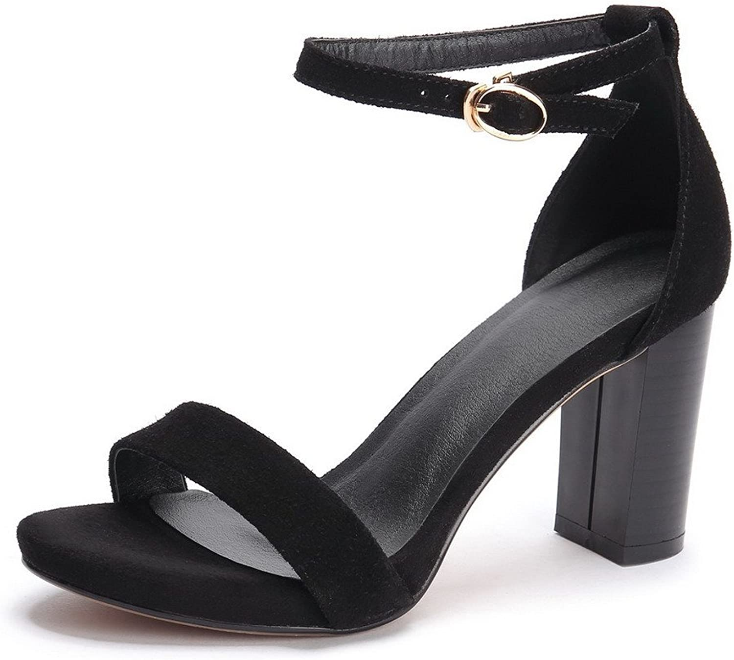 AmoonyFashion Women's Frosted High-Heels Open-Toe Solid Buckle Sandals