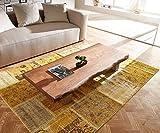 DELIFE Wohnzimmertisch Live-Edge Akazie Braun 120x70 cm Baumkante Edelstahl Kufe - 3