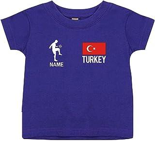 Shirtstown Camiseta Niño Camiseta de Fútbol Turquía con Su Nombre Desdeado Estampado
