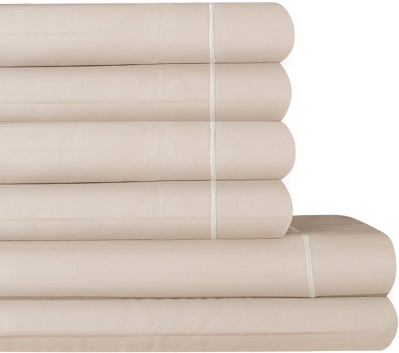 AURAA Comfort 600 Thread Count Extra Long Staple Cotton Thin Stripe Sheet Set,6 Piece Set, Sateen Weave, Fits Upto 16  Deep Pocket (Taupe, Queen)