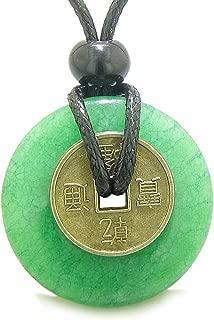 Antique Lucky Coin Good Luck Powers Amulet Green Quartz 30mm Donut Pendant Necklace
