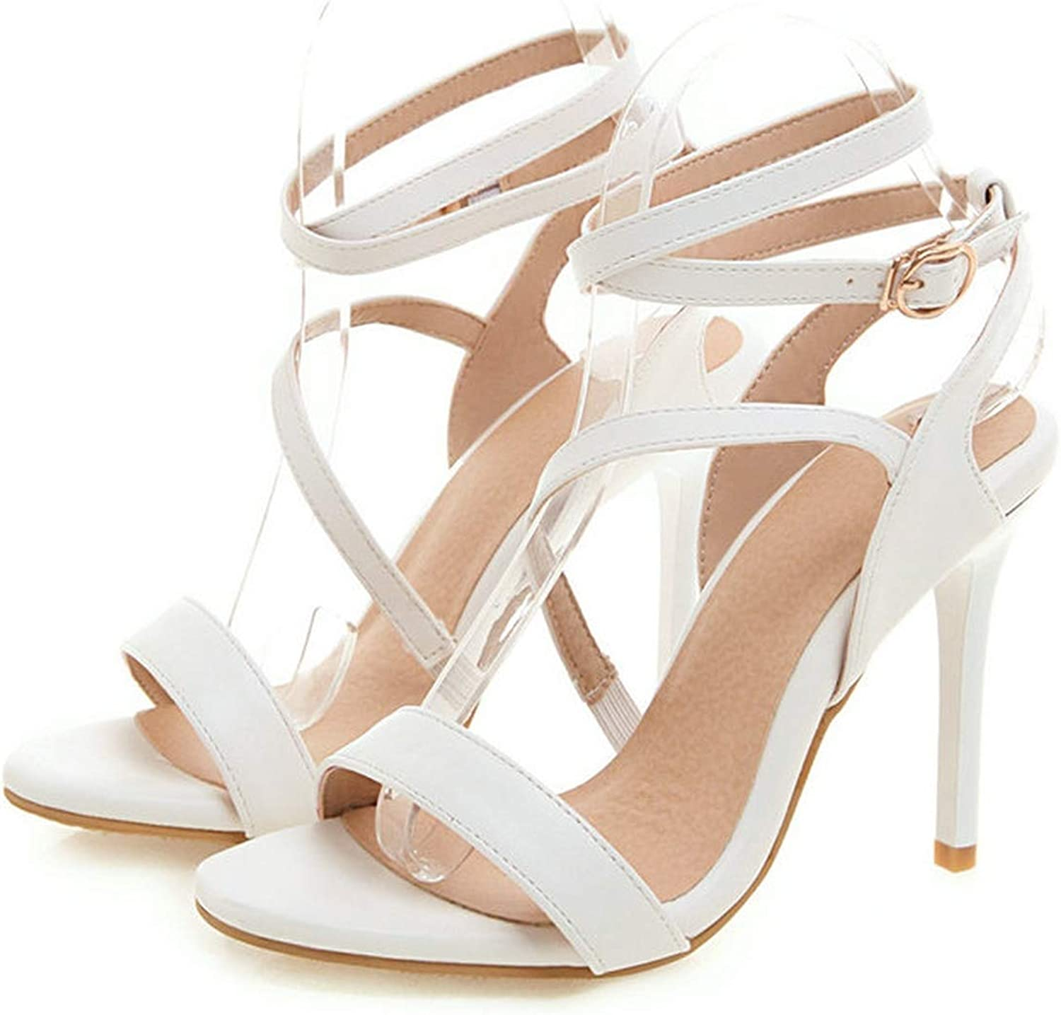 Ladies Sandals Sexy Thin Super High Heel Cross-Tied Round Open-Toed,