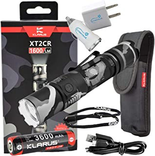 Klarus XT2CR 1600 Lumen Rechargeable Tactical Flashlight (Urban Camo) bundle with Lumintrail USB Car and Wall Adapters