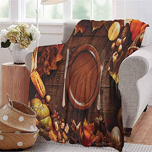 Luoiaax Harvest Children's Blanket Dinner at Thanksgiving Fall Color Theme Plate and Cutlery Various Seasonal Food Lightweight Soft Warm and Comfortable W70 x L90 Inch Brown Orange