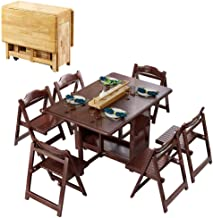 1.3M Dining Table Set Folding Drop Leaf Butterfly Solid Wooden Kitchen Furniture Natural Pine 6-Chairs JISHIYU (Color : Wa...