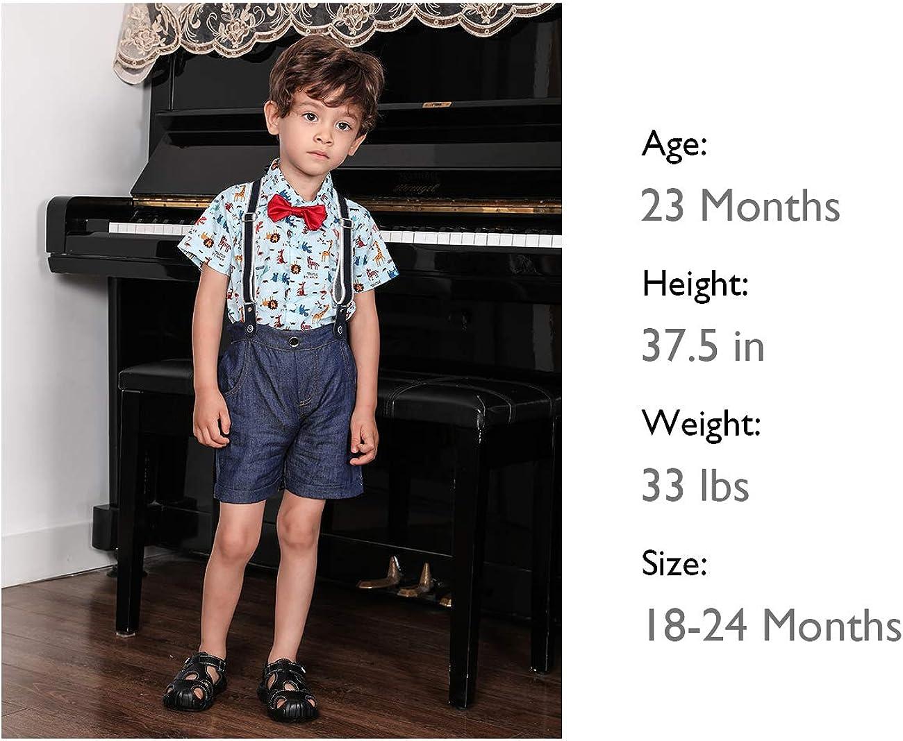 4 pcs, 0-5T HOSUKKO Baby Boy Clothes Outfit Onesie /& Jeans /& Bow Tie /& Suspenders Infant Boys Pants Sets for Dress Up