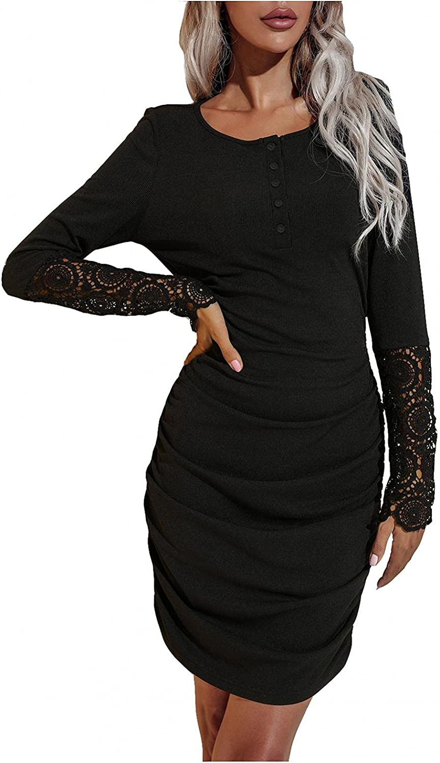 Women Ruched Bodycon Dress Full Sleeve Lace Splicing Solid Color Casual Basic Fitted Short Dresses O-Neck Button Dress