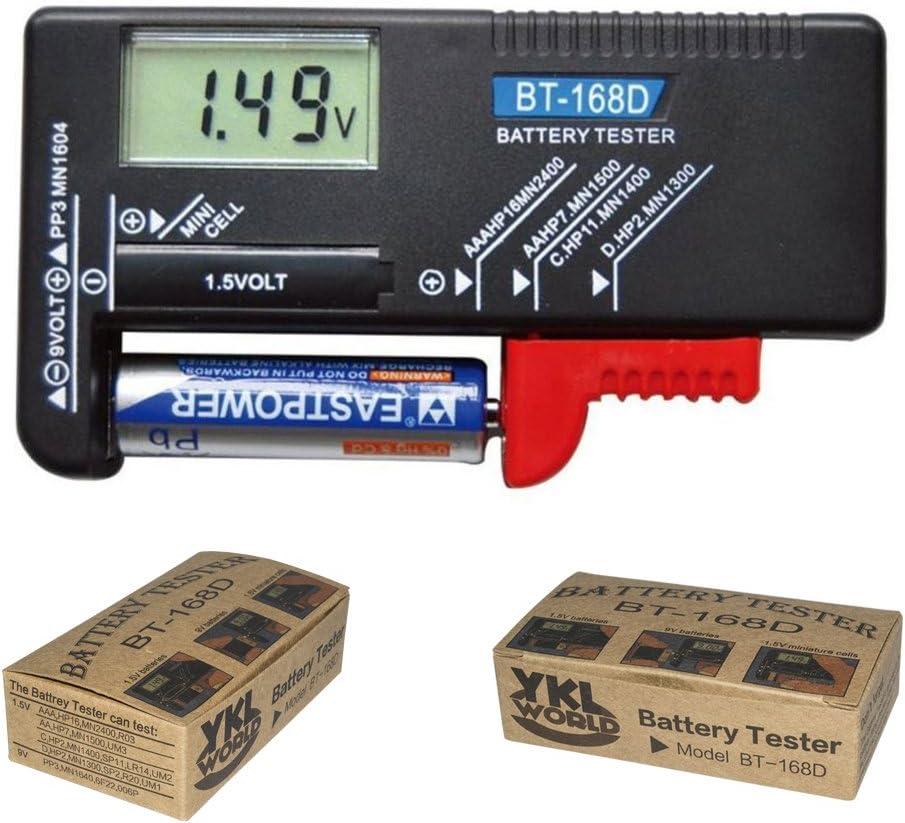 YKL WORLD Battery Tester, Digital LCD Universal Battery Checker for AA AAA C D 9V 1.5V Button Cell Batteries (Model: BT-168D)