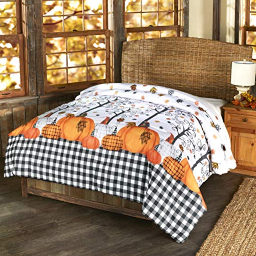 The Lakeside Collection Plaid Pumpkin Decorative Harvest Season Bed Comforter - Twin