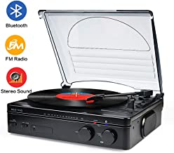 Record Player Bluetooth Turntable with Stereo Speakers Portable Belt-Driven Nostalgic LP..