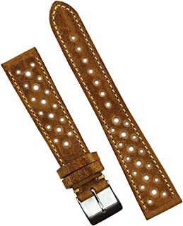 B & R Bands 20mm Malt Le Mans Elegant Racing Watch Band Strap - Medium Length