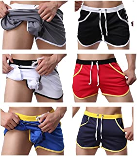 AOQIANG Mens underwear Side Pocket Front Tie Inner Pouch Beach Shorts Sport Boxer Swim Pants Pack