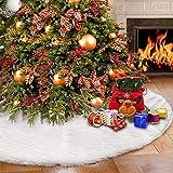 Weihnachtsbaumdecke Weihnachtsbaum Rock Weiß Plüsch 78/90/122/152cm Weihnachtsdeko Weihnachtsbaum Schürze Christmasbaumdecke Weihnachten Weihnachtsfeiertag Party Urlaubsdekorationen (152cm)