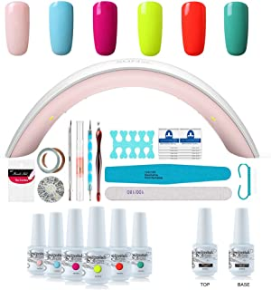 Gel Nail Polish Starter Kit - 6 Colors Gel Polish Set Base Top Coat, 36W LED Nail Dryer Lamp with Full DIY Gel Manicure Nail Tools by Vishine 8ml #C005