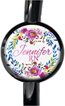Pink Floral Wreath Stethoscope Tag - Adjustable Steth Tag Id for Tubing Personalized with Name Monogram Occupation Title - Flower Nurse Identification