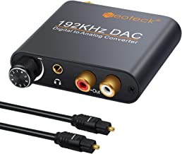 Neoteck 192kHz DAC Converter with Volume Control Aluminum Digital Optical Coaxial Toslink to Analog Stereo Left/Right RCA 3.5mm Jack Audio Adapter for PS3 XBox HD DVD PS4 Sky HD Plasma Blu-ray