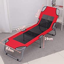 Folding Chairs Folding Bed Single Bed Siesta Bed Simple Cloth Bed Camping Bed accompanying Bed (Color : Red, Size : 194 * 63 * 29cm)