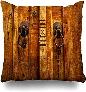 Ahawoso Throw Pillow Cover Square 20x20 Gate Brown Antique Old Wooden Door Ancient Iron Doorknob Knockers Aged Black Closeup Dark Detail Knock Pillowcase Home Decor Cushion Pillow Case