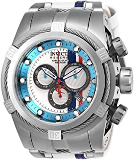 Invicta Men's Reserve Stainless Steel Quartz Watch with Leather-Synthetic Strap, White, 27 (Model: 26469)
