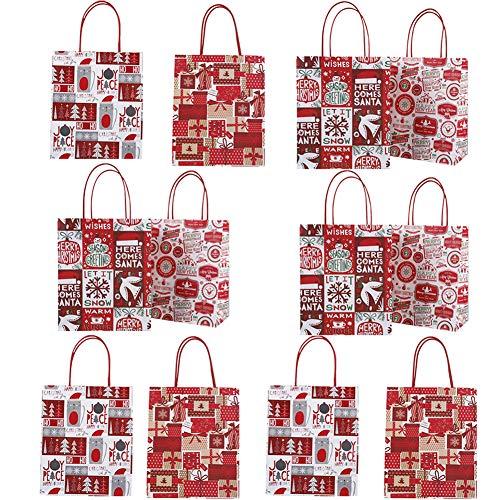12 piezas de bolsas de papel de Navidad para fiestas con asa