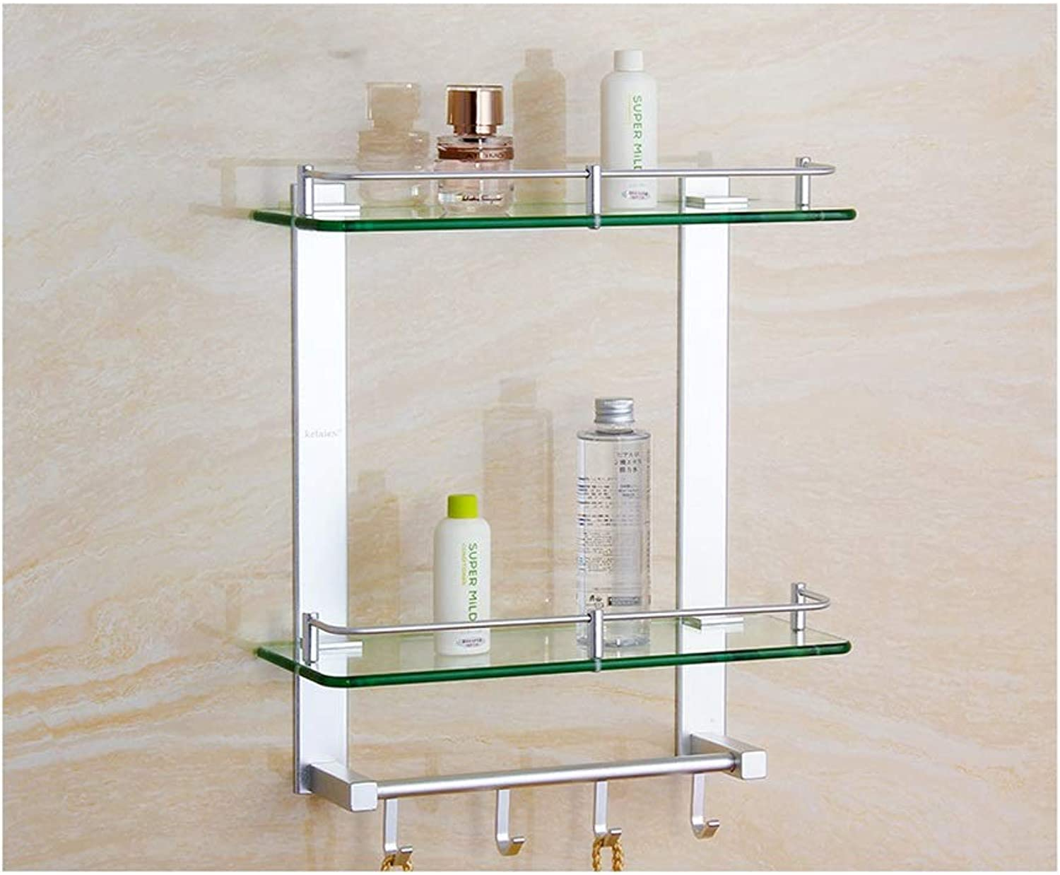 QIQI-JZX Wall Mounted Stainless Steel Bathroom Shelf Rack, Multifunction 2 Tier Glass Shelves with Hooks (Size   50cm)