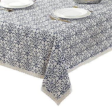 ColorBird Vintage Navy Damask Pattern Decorative Macrame Lace Tablecloth Heavy Weight Cotton Linen Fabric Decorative Table Top Cover (55 Inch x 86 Inch)