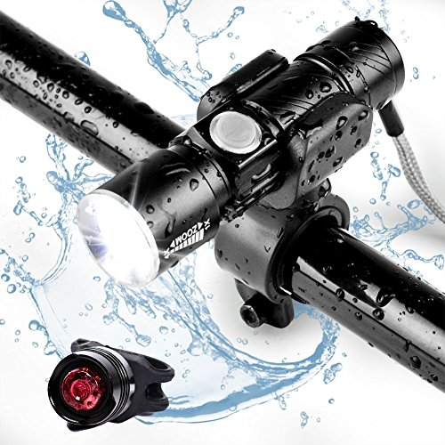 Linterna para bicicleta (USB Charge) Antorcha de bolsillo, MORECOO 3-en-1 Mini linterna con luces de advertencia de la bicicleta y linterna, diseño de impermeabilización para el ciclismo de montaña, camping y uso diario, etc. [3 modos de luz]