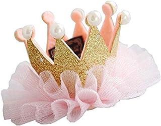 Seliyi ベビー キッズ 王冠 ヘアー クリップ ミニクラウン お誕生日 ハーフバースデー 女の子 記念日 写真 選べる デザイン (ゴールド)