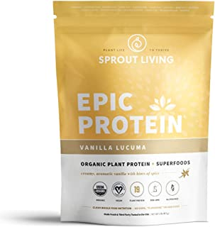 Sprout Living Epic Protein Powder, Vanilla Lucuma Flavor, Organic Plant Protein, Gluten Free, No Additives, 19 Grams Clean Vegan Protein (1 Pound,13 Servings)