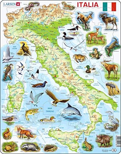Larsen K83 Italia Fisica con Animali, Edizione Italiano, Puzzle Incorniciato con 65 Pezzi