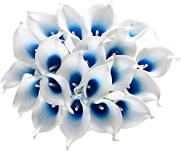 Houda Calla Lily Bridal Wedding Artificial Fake Flowers Party Decor Bouquet PU Real Touch Flower (White Blue 20 Pcs)