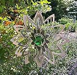 Manufaktur-Lichtbogen Edelstahl Windspiel Blume mit Glaskugel Gartendeko Windspiele Metall