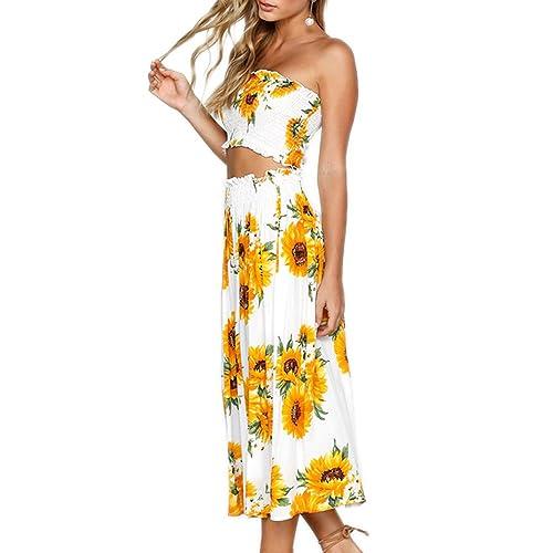 70bf51b15c YISHIWEI Women s Sunflower Floral Crop Top Maxi Skirt Set 2 Piece Outfit  Dress