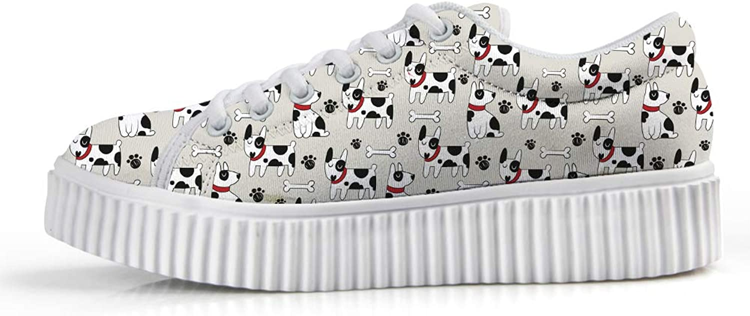 Owaheson Platform Lace up Sneaker Casual Chunky Walking shoes Low Top Women Bone Pit Bull Terrier Dog Paw