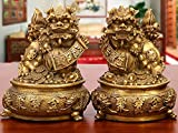 BOYULL Large Size Wealth Porsperity Brass Pair of Fu Foo Dogs Guardian Lion with Treasure Basin Statues,Best Housewarming Congratulatory Gift to Ward Off Evil Energy,Feng Shui Décor