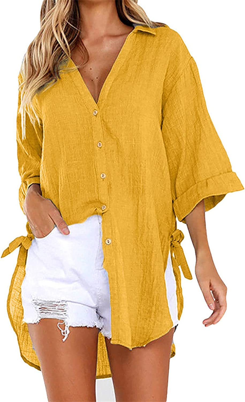 AODONG Shirts for Women Women Short Sleeve Tops, Womens Leopard Print Stripe Cotton Tunic Top Shirt Casual Tees Pullover Blouse T Shirt Yellow