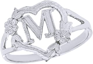 Silver Initial Alphabet Personalized Heart Ring - Letter M