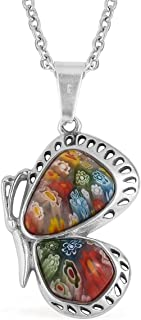 Murano Millefiori Glass Side Butterfly Chain Pendant Necklace Stainless Steel Jewelry Size 20