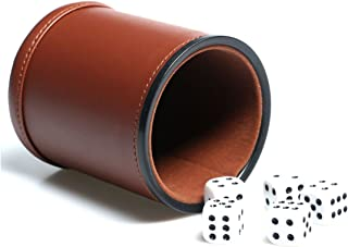 Leather Dice Cup Set Felt Lining Quiet Shaker with 5 Dot Dices for Farkle Yahtzee Games,Brown