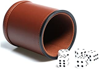 Leather Dice Cup Set Felt Lining Quiet Shaker with 5 Dot Dices for Farkle Yahtzee Games, Brown