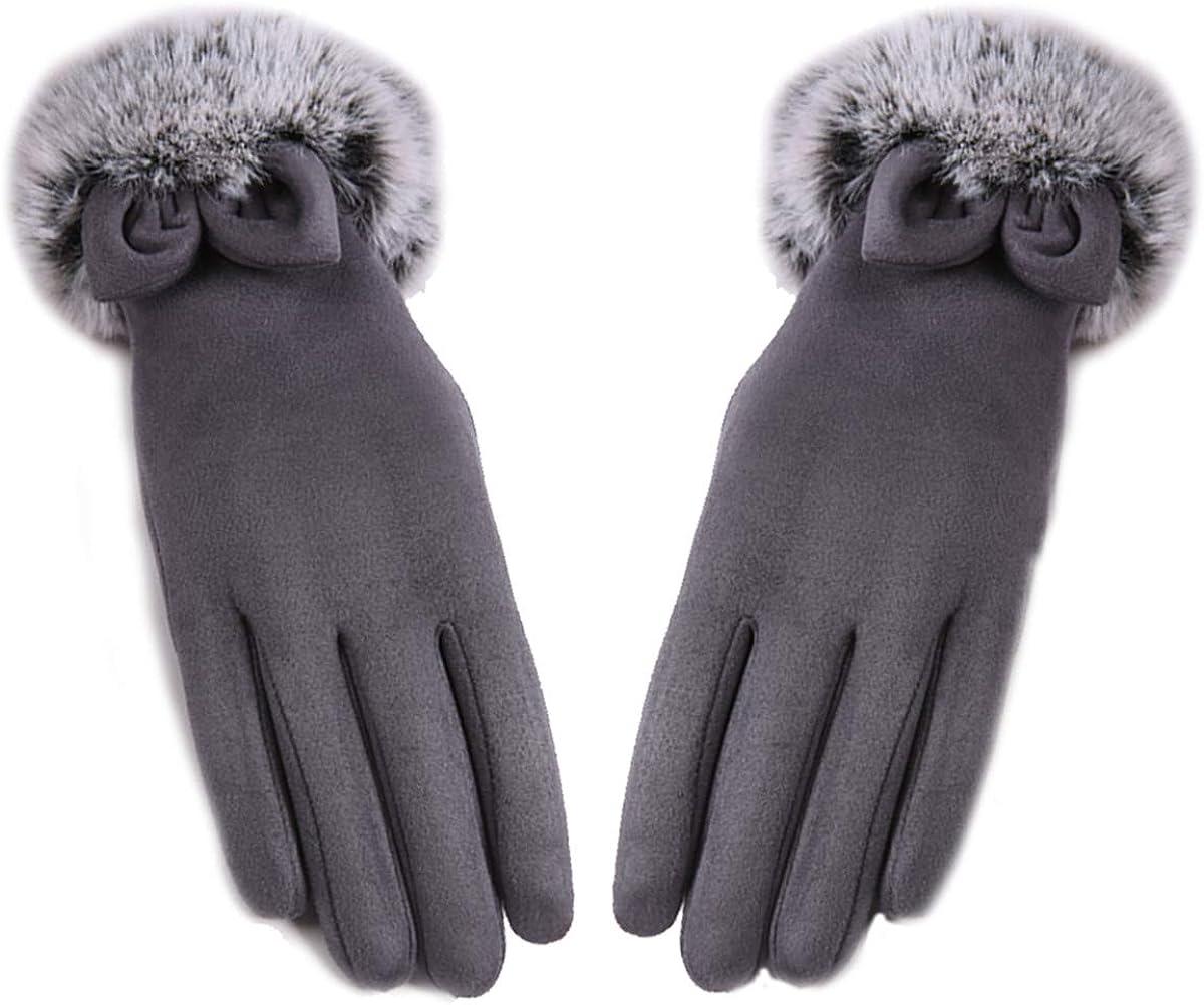VAQM Winter Gloves for Women Touch Screen Gloves Fashion Warm Gloves Rabbit Fur Gloves Womens Chamois Gloves