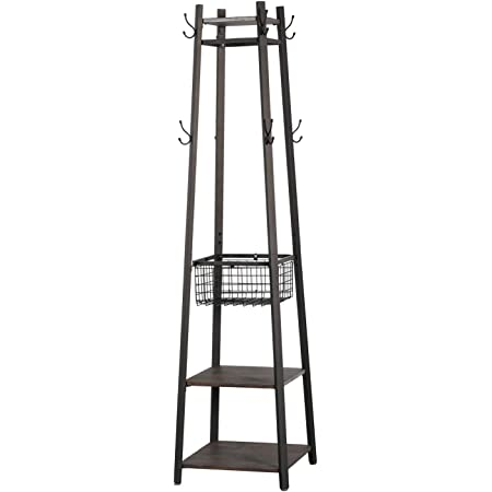 VECELO Industrial Coat Rack Enterway Clothes Stand with 2 Tier Storage Shelves/Basket,Upgrade Hall Trees with 8 Dual Hooks,Vintage Brown+Black