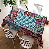 Violetpos Mantel de lino de fácil cuidado, lavable, antimanchas, geométrica marroquí, psicodélica, mandala, 140 x 180 cm