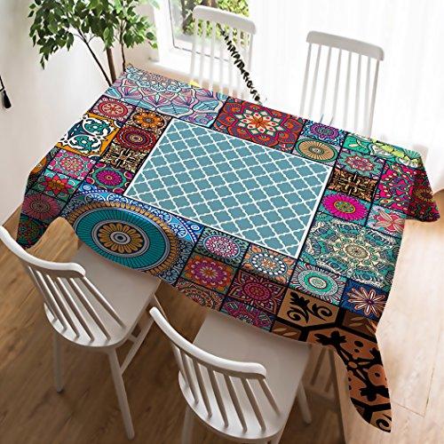 Violetpos Tischdecke Tischtuch Leinendecke Leinen Pflegeleicht Abwaschbar Schmutzabweisend Tischwäsche Marokkanische Geometrie Psychedelisch Mandala 140 x 140 cm