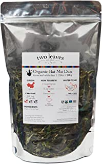 Two Leaves and a Bud Organic Bai Mu Dan White Loose Leaf Tea, 4 Ounce Resealable Pouch Organic Whole Leaf Low Caffeine White Tea, Loose Leaf Tea