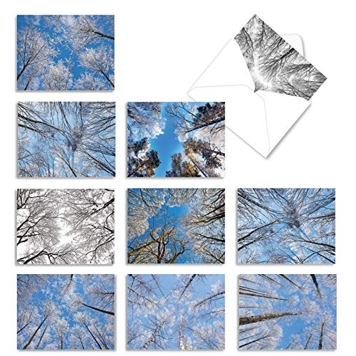 10 'Snow Tops' Blank Greeting Cards with Envelopes 4 x 5.12 inch Assorted Note Cards Featuring Snow-Covered Trees and Winter Skies, Seasonal Stationery for Christmas, New Year Holidays M10017XB